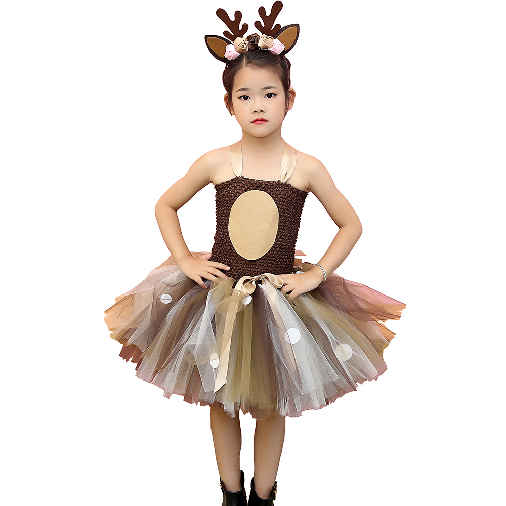 Brown Deer Tutu Dress Halloween Costume for Girls Kids Birthday Party Dress Children Cosplay Animal Sika Deer Dress Up Clothes girls dresses trolls poppy cosplay costume dress for girl poppy dress streetwear halloween clothes kids fancy dresses trolls wig