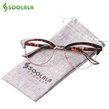 6d23eafb73 SOOLALA Semi-Montura de ojo de gato gafas de lectura de los hombres y las  mujeres lupa gafas de presbicia gafas de lectura + 0,5 de 1,5 a 2,5 4,0