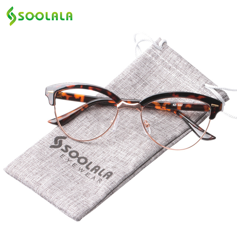 SOOLALA  Semi-rimless Cat Eye Reading Glasses Women Magnifying Eyeglasses Presbyopia Reading Glasses +0.5 1.5 2.5 To 4.0