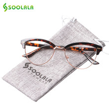 a6bc362c00a5b SOOLALA Semi-rimless Cat Eye Reading Glasses Women Men Magnifying Eyeglasses  Presbyopia Reading glasses +0.5 1.5 2.5 to 4.0