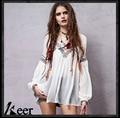 Промежуток стиль девушки весна лето осень boho хиппи лонг фонарь рукавом v-образным вырезом белая блузка оригинал чешские верхней части рубашки blusa