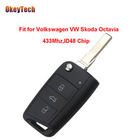 OkeyTech Original 433mhz ID48 Chip 3 Button Flip Folding Blade Remote Control Key for Volkswagen VW Skoda Octavia Free Shipping