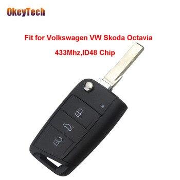 OkeyTech Originale 433 mhz Circuito Integrato ID48 3 Button Vibrazione Pieghevole Lama Chiave Telecomando per Volkswagen VW Skoda Octavia Trasporto libero