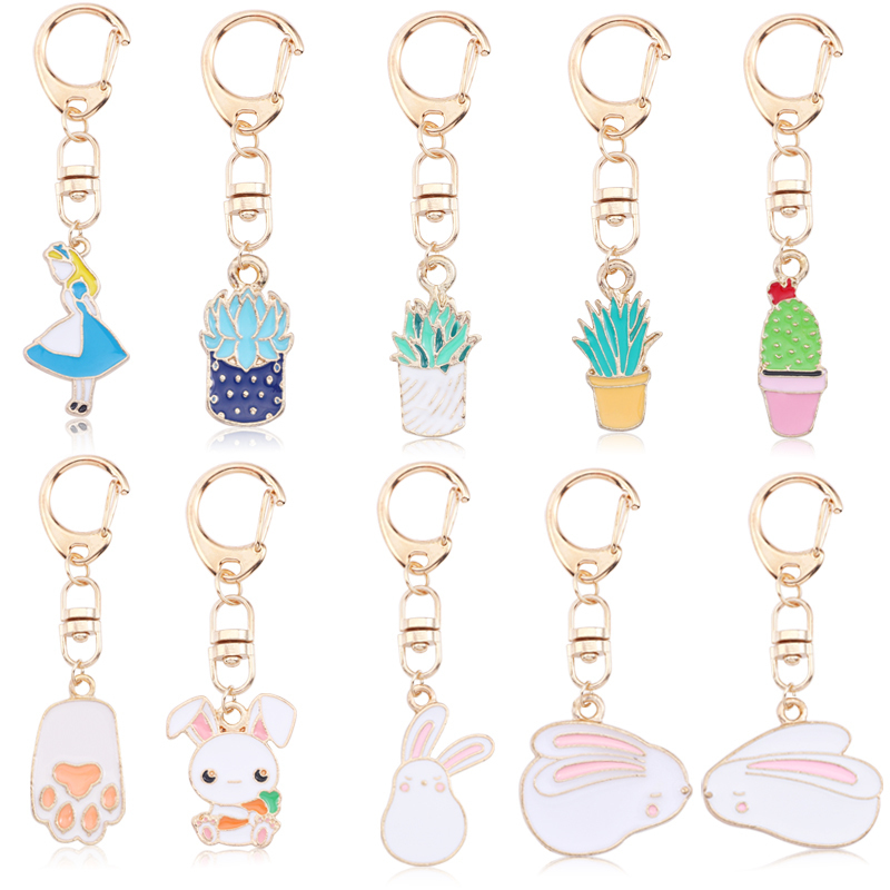 Cute Rabbit DIY Animal KeyChain For Women Kawaii Bunny Key Chians Anime Gold Metal Key Chain Jewelry Unisex Gifts Drop Shipping