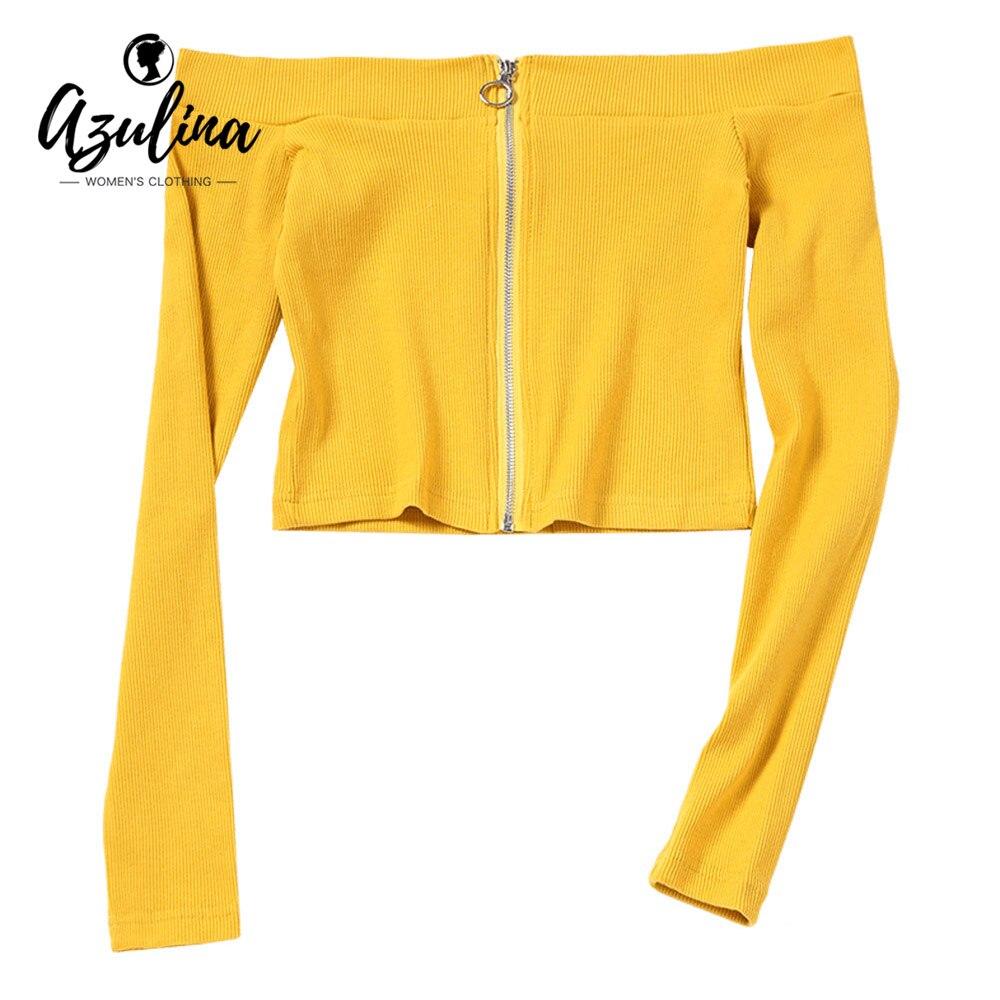 AZULINA Women T-Shirts Female Casual Yellow Off Shoulder Zip Up Knitted Crop Top Cotton Long Sleeve Short T-Shirt Cropped Top