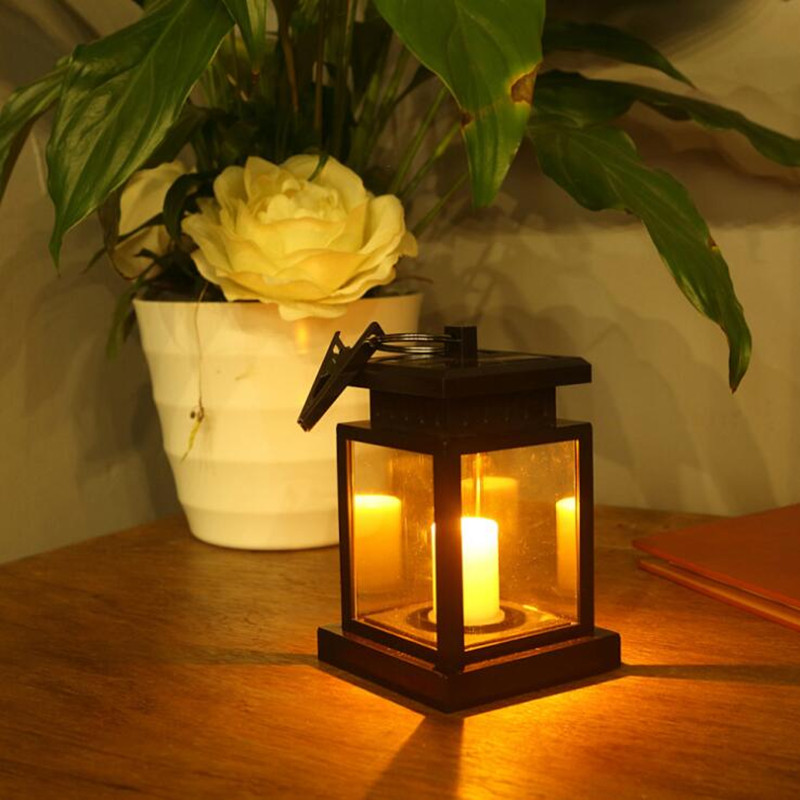 Solar Lantern Outdoor Candle Lights With Clamp Beach LED Waterproof Hanging Umbrella Lantern Solar Light For Garden Decoration