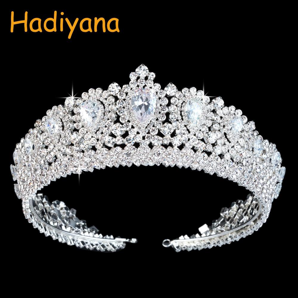 Hadiyana De Luxe Main De Mariage Diadème Diadèmes Couronne Avec TearDrop Zircon Cristal Élégant Femme Pageant Parti Couronnes BC3232