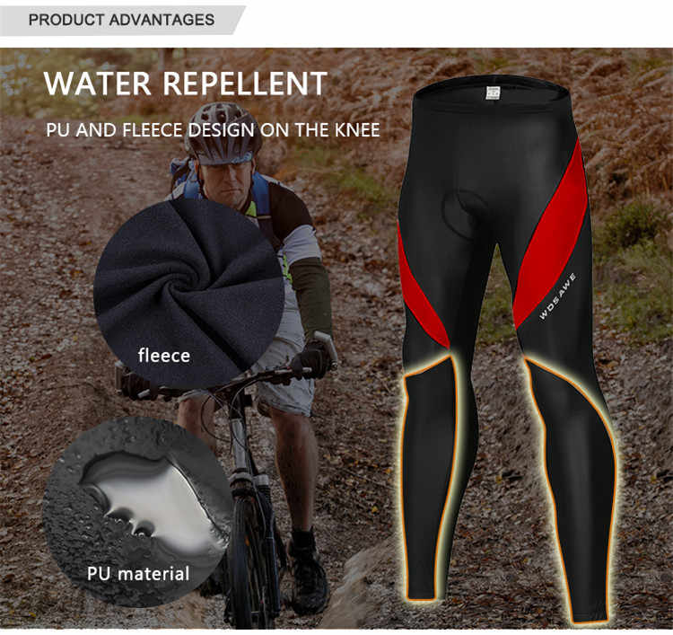 WOSAWE Mens ขี่จักรยาน Tights ฤดูหนาวความร้อนสวมใส่เย็นเจลเบาะ Legging จักรยานกางเกงขี่จักรยานกางเกง