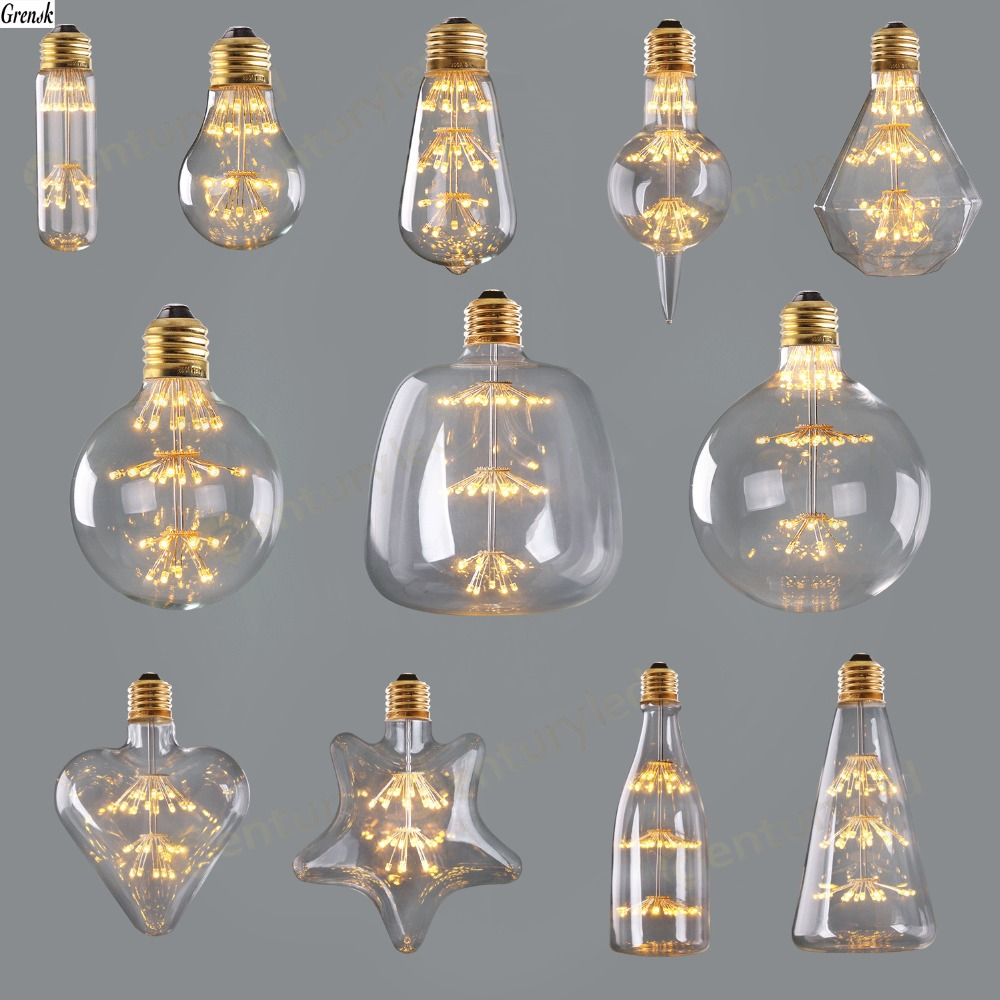 T30 A19 ST64 G80 Diamond Heart,Fireworks Starry,3W 2200K,Edison LED Filament Light Bulb,E27 220-240VAC,Decorative Pendant Lamp