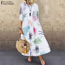 Bohemian Sundress Women Floral Printed Beach Dress ZANZEA Summer O Neck Half Sleeve Party Vestido Casual Loose Dresses Kaftan