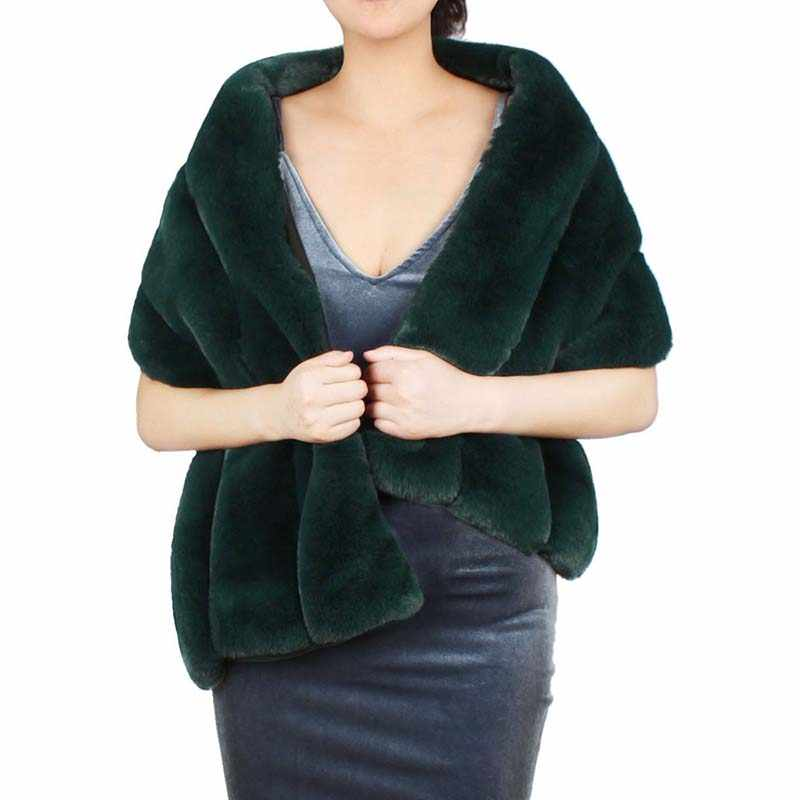 2019 New Winter Faux Fur Scarf Cashmere Shawl Pashmina for Women Large Wraps Soft Imitation Fur Woman Poncho Accessories Gifts