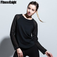 8c5e60e54e0f7a Solid Long Sleeve Sport T Shirt Patchwork Yoga Shirt Famele Fitness Mesh  Sports Top Gym Workout