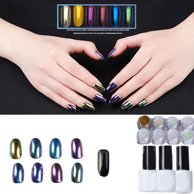 19 unids/set Fashion Beauty Nail Art Camaleón Espejo UV Gel Glitter Polvo De Cromo Negro Mini Cepillo de Alta Calidad