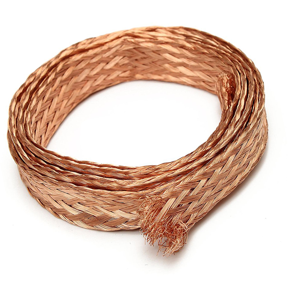 Mayitr 1m/3.3ft x 8mm Pure Copper Flat Braid Cable Bare Copper Braid Wire Ground Lead  1m 15mm flat tinned copper braid sleeve screening tubular cable diy