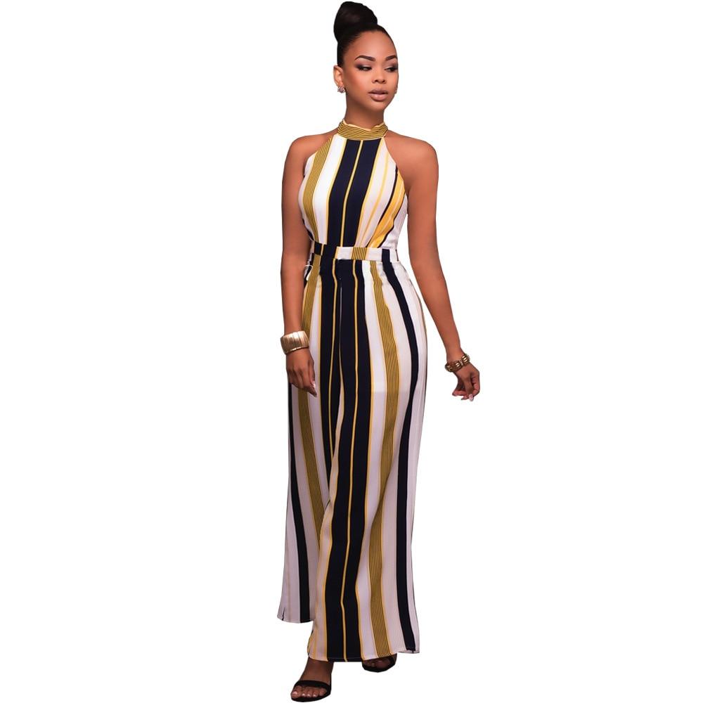 Plus Size Turtleneck Wide Leg Overalls Fashion Women Striped Print Sleeveless Tie Up Back Long Pant Jumpsuit Monos Largos