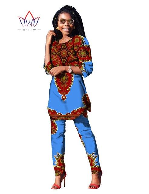 2017 Весной Из Двух Частей Набор Воск Топ и Брюки Женщин Костюмы из двух Частей Набор Африканских Женщин Одежда Плюс Размер 6xl Бренд Пользовательские WY481
