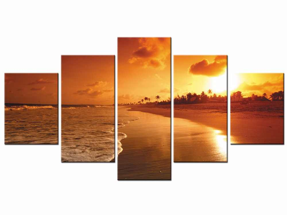 5 Pieces Sunset Sea  Canvas Painting Cuadros Home Decoration Wall Art Picture For Living Room Modern Prints Framed J009-007