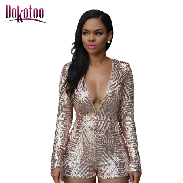 9235673c18 Dokotoo macacao feminino 2017 autumn Black Gold Sequin Playsuit Romper  Jumpsuit LC60841 body suits rompers overall for women