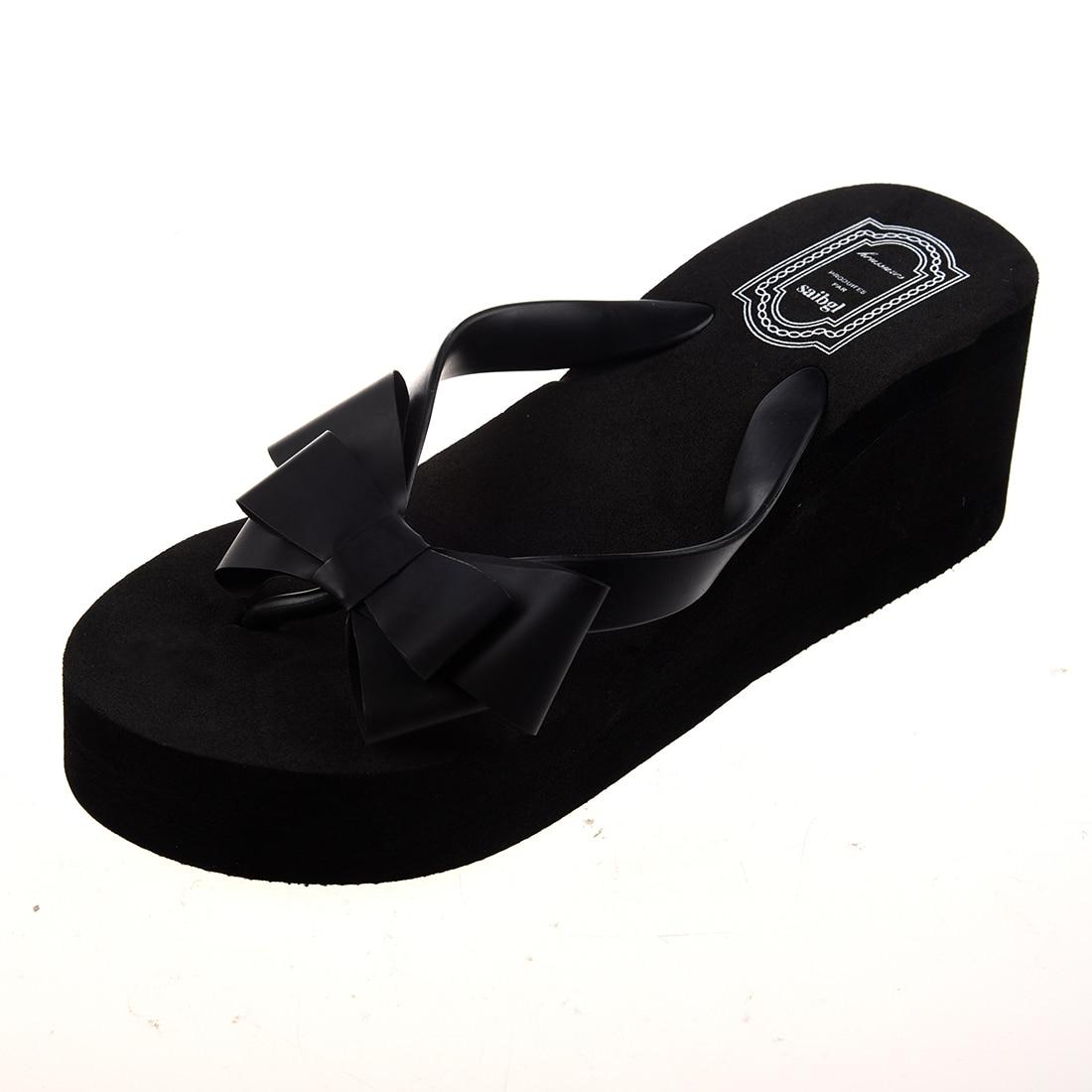все цены на Ladies Summer Platform Flip Flops Thong Wedge Beach Sandals Knot Bow Shoes