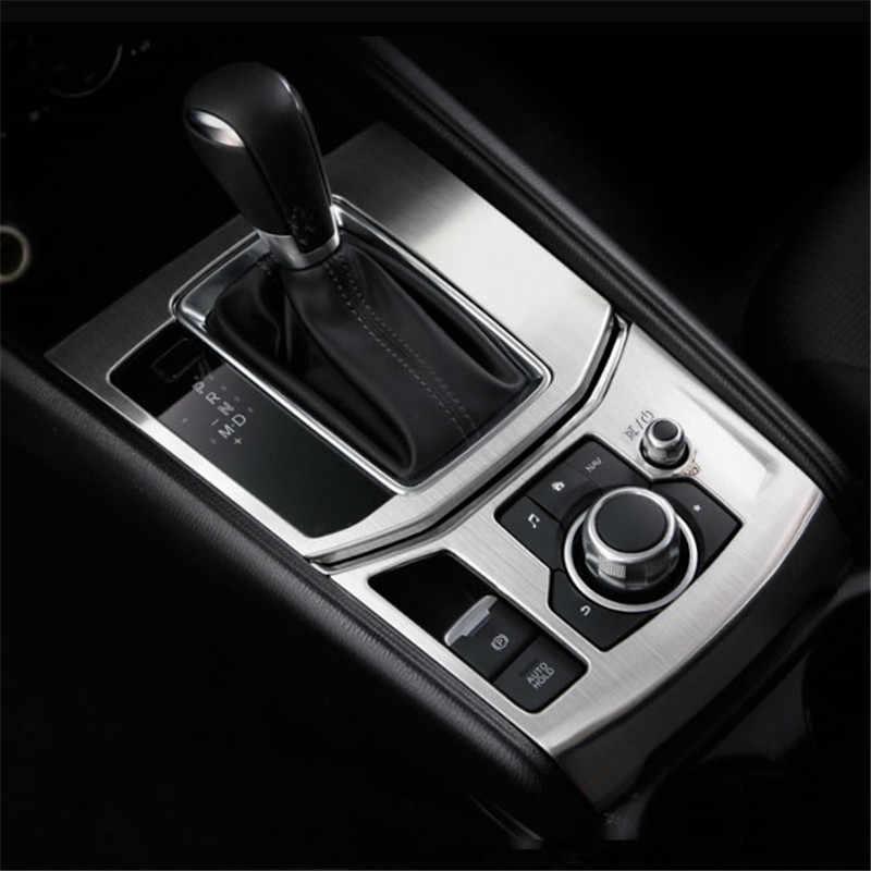 FIT LHD Mazda CX5 CX-5 2017 2018 aksesuarları iç el freni anahtarı dekoratif panel vites Trim çerçeve etiket 2 adet/takım