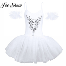 Blanc Femmes Adulte Cygne Costumes Ballet Robe De Courroie de spaghetti  Sans Manches À Paillettes et Perles Fleur Justaucorps Tu. 0167d0de0d6