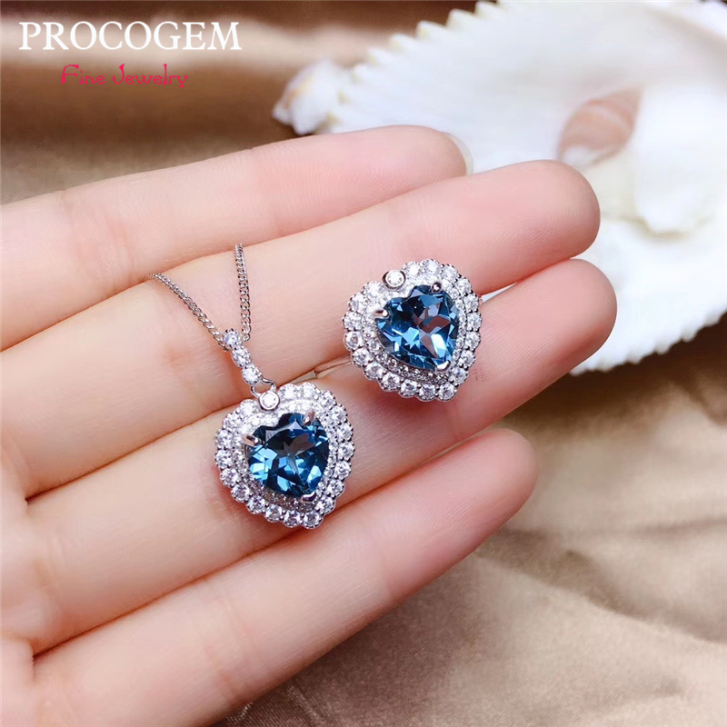 PROCOGEM Heart Natural Blue Topza Jewelry sets for women Party Genuine Gemstones with CZ Necklace Ring 925 Sterling silver #565PROCOGEM Heart Natural Blue Topza Jewelry sets for women Party Genuine Gemstones with CZ Necklace Ring 925 Sterling silver #565