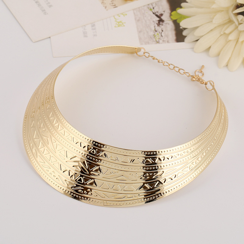 KMVEXO Fashion Jewelry Wide Punk Necklaces Charm Party Gold Necklace Chain Luxury Choker Collar Necklace For Women Collier Femme