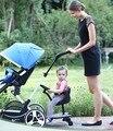 Acessórios pedal dois fetos empurrar carrinho de bebê gêmeos carrinho de criança de dois pedais