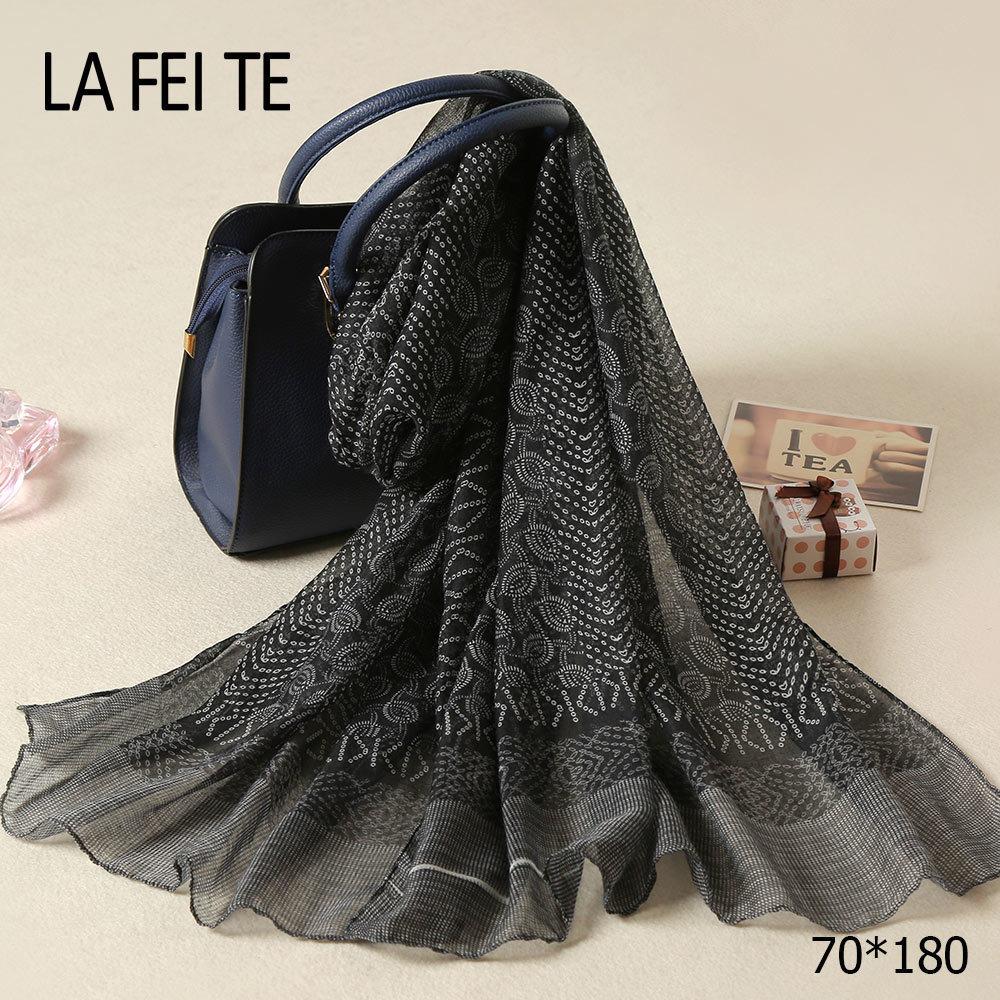Detalle Comentarios Preguntas sobre Bufanda larga de raso para mujer de lujo  de marca Foulard Femme viscosa gasa chal viscosa Hijab negro Sarga de seda  para ... 8df70309942