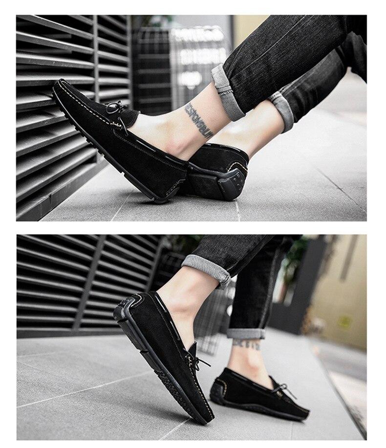 Весенне-летняя мужская повседневная обувь из замши, мужские мягкие мокасины без шнуровки, удобная мужская обувь на плоской подошве, летняя ...