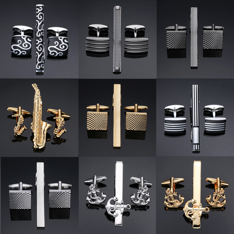 цена High Quality Cuff links necktie clip for tie pin for men's gift Classic pattern tie bars cufflinks tie clip set Men Jewelry
