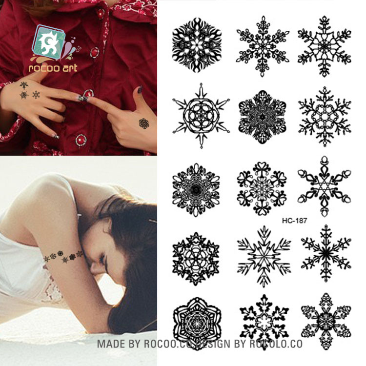 50sheet/lot Fashion Sexy Black Ice Snow Waterproof disposable Temporary Art Tattoos Body Sticker Salon Makeup Seal Party Decors