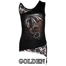 Skull Print for Women T-Shirt Sexy Sleeveless Punk Tee Shirt Lace Patchwork Black Tee Tops Pullovers Plus Size LJ8403R
