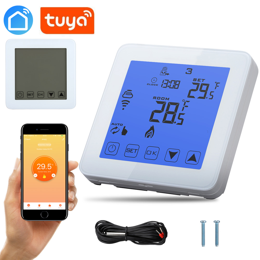 Samrttuya Alexa Echo Wifi Energy Saving Thermostat Programmable Touch Screen Temperature Controller Electrical And Water Heating