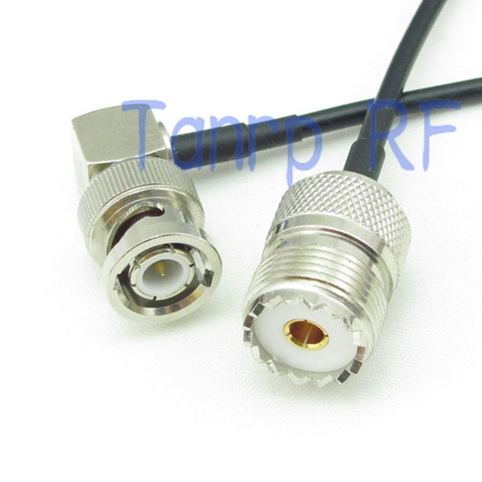 все цены на  6in BNC male right angle to UHF SO239 female jack RF connector adapter 15CM Pigtail coaxial jumper cable RG174 extension cord  онлайн