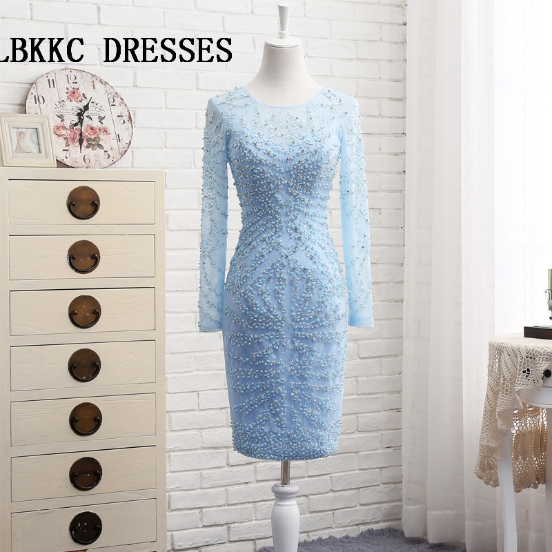 Short Prom   Dress   Blue Lace With Beaded Long Sleeved   Cocktail     Dresses   Vestido   Cocktail   Court