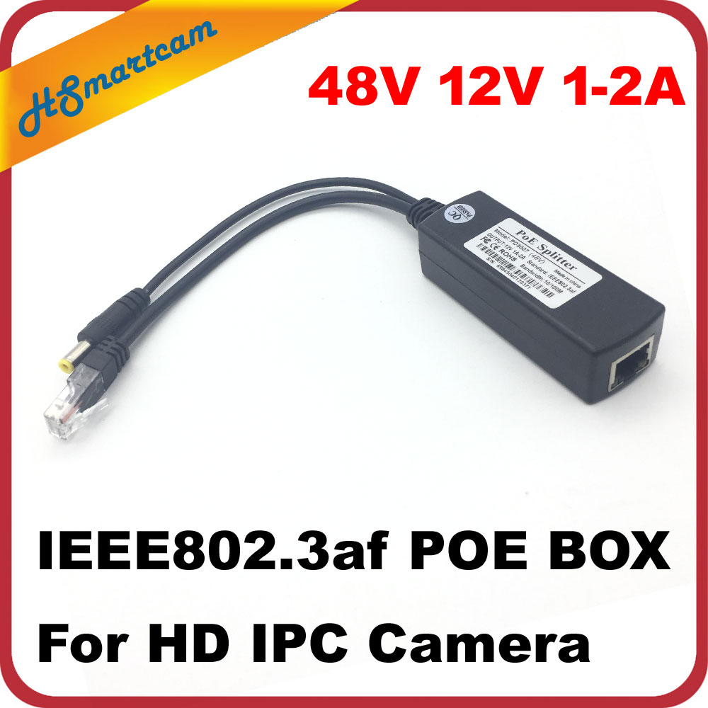CCTV IPC Camera POE Adapter Cable IEEE802.3af POE Splitter Injector Power Supply 48V POE Splitter Power supply  OUTPUT 12V 1-2A