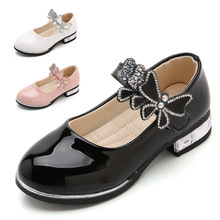 2019New kids Childrens leather shoes Rhinestones Princess Girls for Dance Party baby girls Student black Leather Shoes