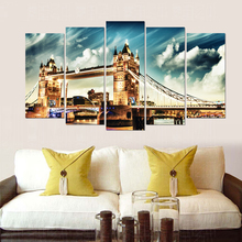 London bridge modern canvas painting realist art prints 5 psc Europe wall picture for living room cafe hotel lobby bedroom store realist interviewing