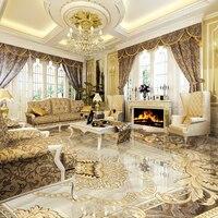 Custom 3D Floor Murals Wallpaper Marble Pattern European Style Living Room Bedroom Floor Mural Waterproof Wall
