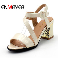 ENMAYERW Summer Women Fashion Sandals Pumps Shoes Ankle Strap Peep Toe Buckle Strap Hoof Heels Large