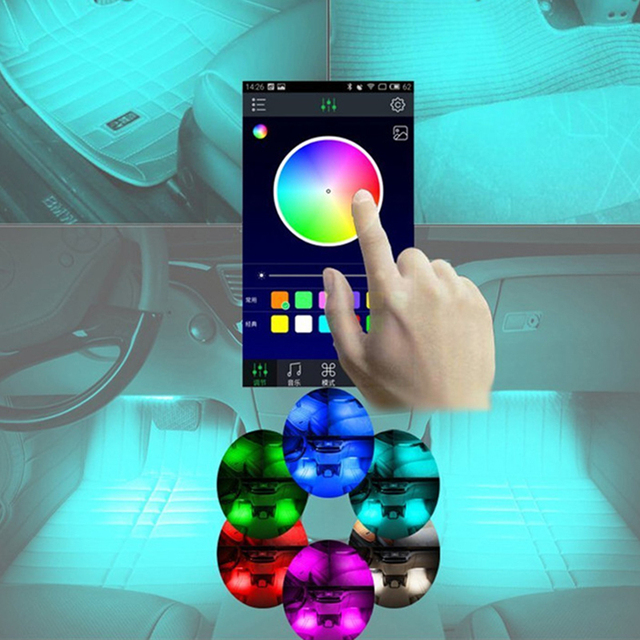 App Control Car Interior Decoration Lights 12 Led Car Interior