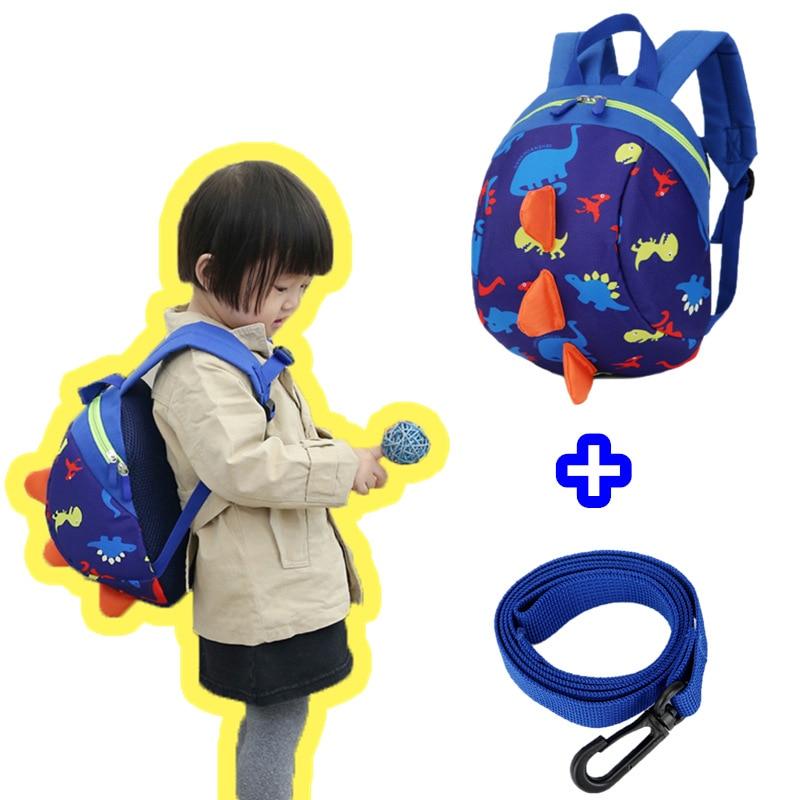 2017 New Children Backpacks Nylon Waterproof Cartoon Dinosaur Anti Lost Kindergarten School Bags For 0-3 Years Kids Boys Girls цены онлайн