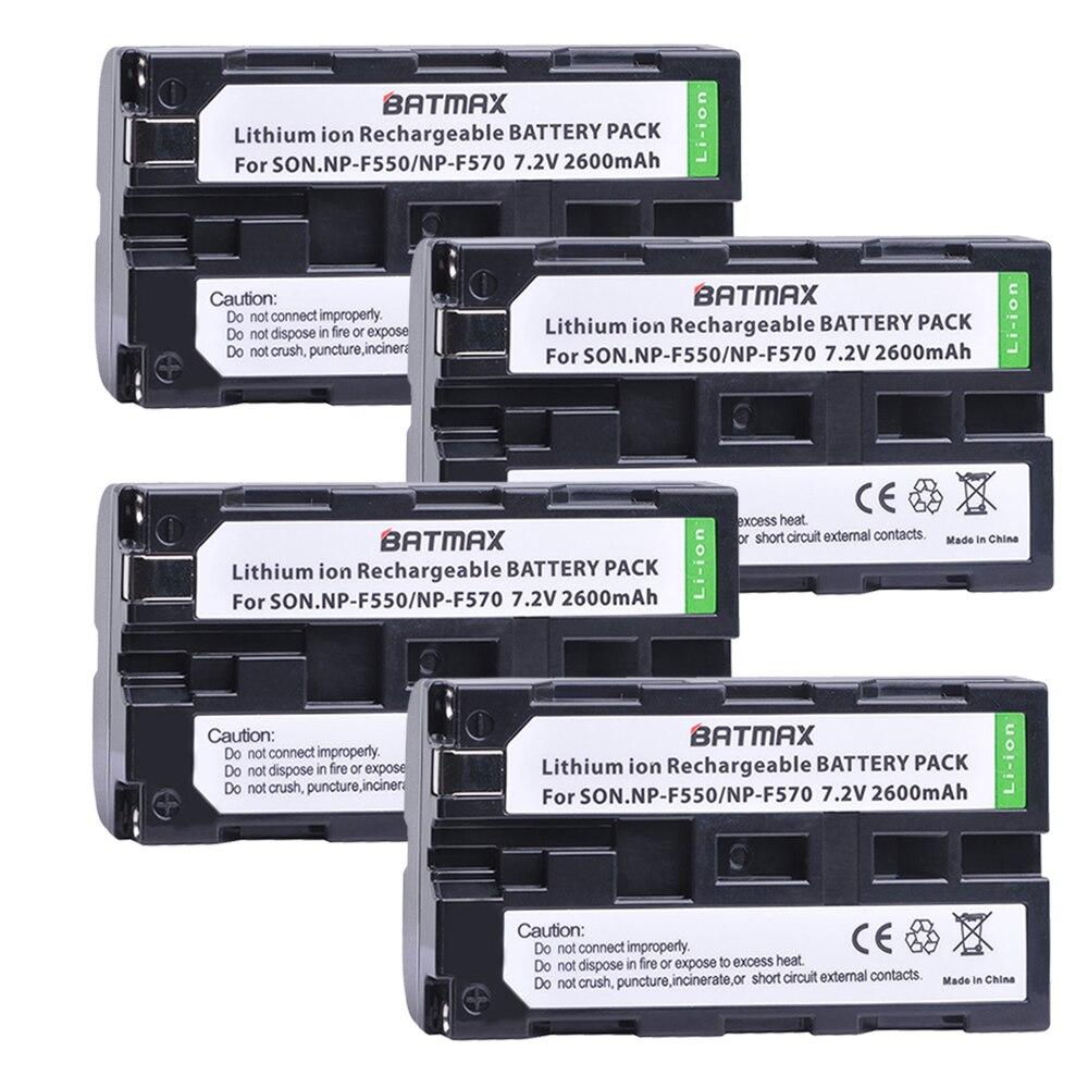 4 Pakcs NP-F550 NP F550 NPF550 recargable Li-ion (2600 mAh) para Sony NP-F330 NP-F530 NP-F570 NP-F730 NP-F750 Hi-8