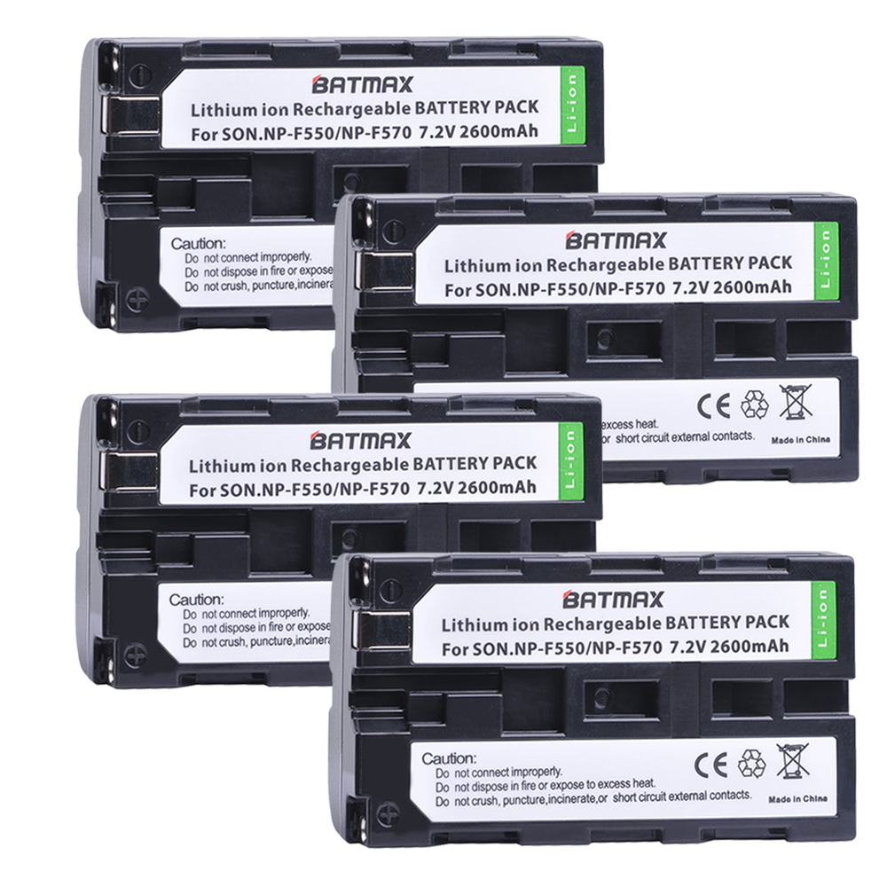 4Pakcs NP-F550 NP F550 NPF550 Rechargeable Li-ion batteries(2600mAh) for Sony NP-F330 NP-F530 NP-F570 NP-F730 NP-F750 Hi-8 digiyalbo hot sale 1pcs battery np f550 np f330 np f550 np f330 rechargeable camera battery for sony gv d200 d800 digital camera