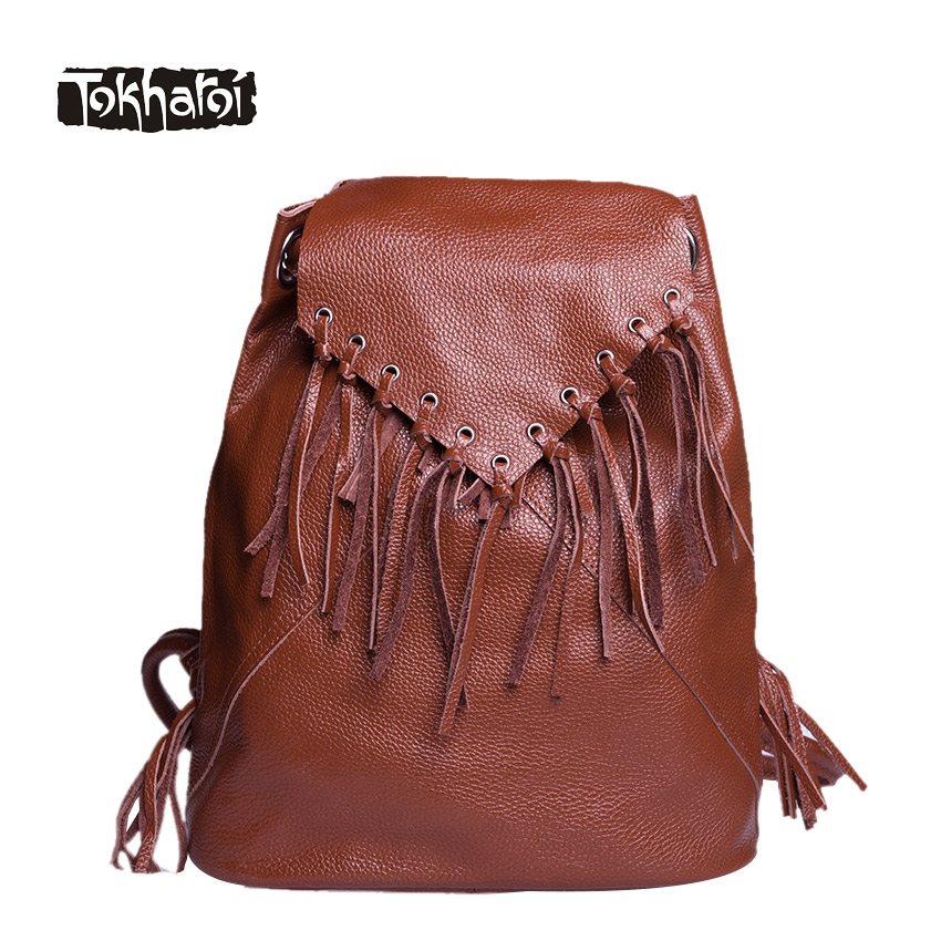 Tokharoi Brand Genuine Leather Women Backpacks Hollow Out Lock Shoulder Bag Fashion Style String Softback Bag Solid Design Bags