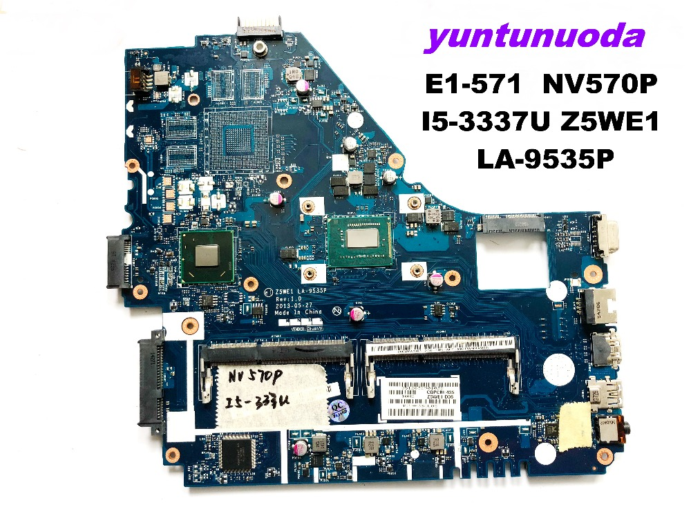Original for ACER E1-570 NV570P laptop <font><b>motherboard</b></font> E1-571 NV570P I5-3337U Z5WE1 <font><b>LA</b></font>-<font><b>9535P</b></font> tested good free shipping image