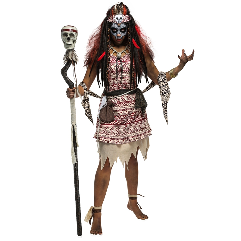halloween mysterious adult women voodoo witch costume bring powerful magic terrify the masses cosplay clothing - Cheap Creepy Halloween Costumes