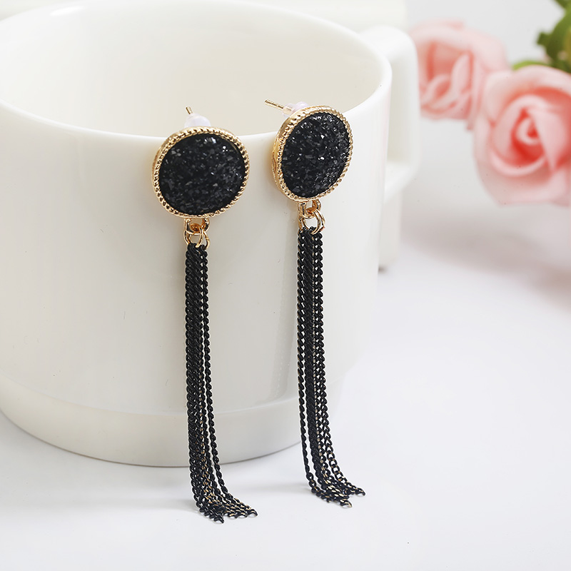 Women Vintage Jewelry Black Tassel Earrings Round Earrings Crystal Long Earrings Female Luxury Rhinestone Boho Dangle Earrings