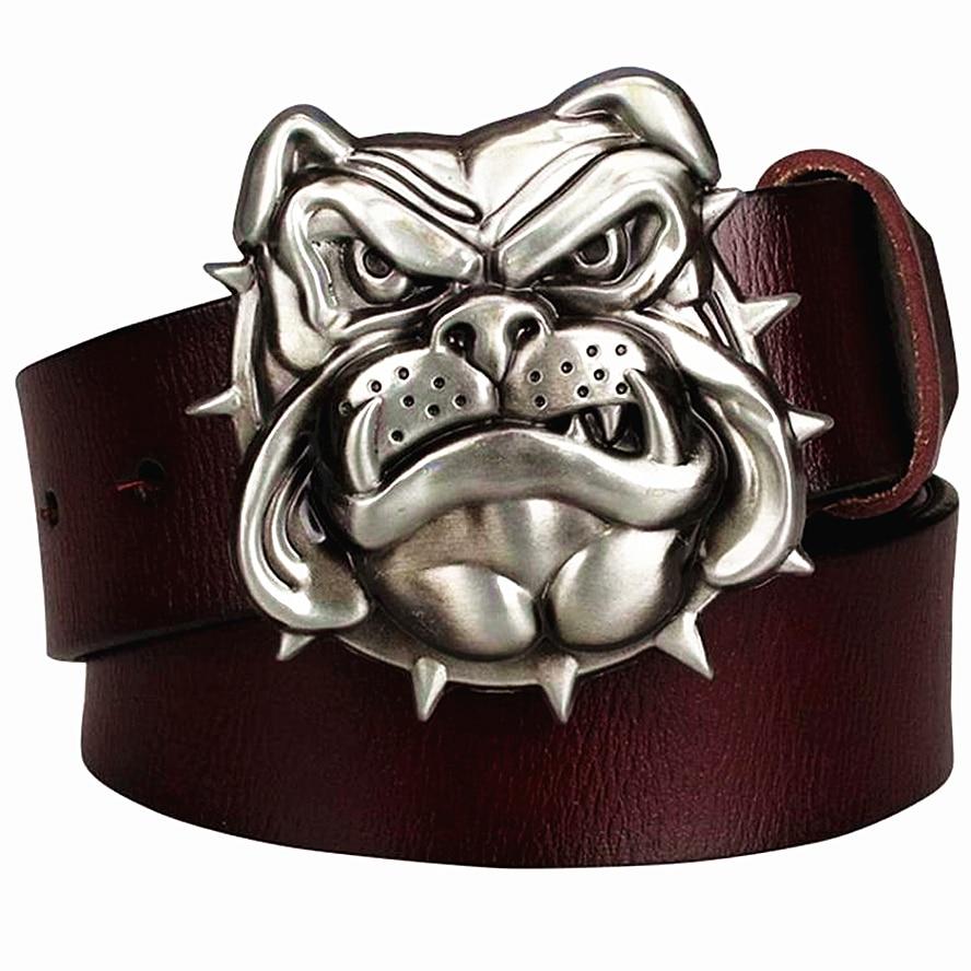 Cinturón de hebilla de metal de cuero Genuino moda hombres bulldog perro  cabeza estilo occidental cinturones de vaquero cinturón de hip hop Street  Dance en ... 94f283cce06